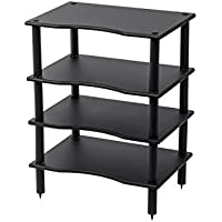 Monolith 4 Tier/Shelf Audio Stand - Black | Open Air Storage, Modular Design, Sturdy, Compatible with Bose, Polk, Sony, Yamaha, Pioneer and Others
