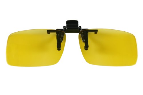 Clip on Flip up Sunglasses with UV400 Polycarbonate Polarized Lenses 60mm/56mm in Grey/Yellow/Brown/Green (Yellow, 60mm)