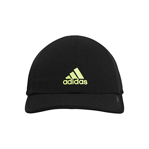 adidas Men's Superlite Relaxed Adjustable Performance Cap, Black/Hi Res Yellow, One Size