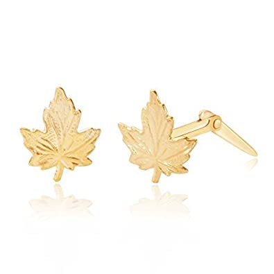 18b8c6027 Image Unavailable. Image not available for. Colour: 9ct yellow gold maple  leaf Andralok stud earrings / Gift box