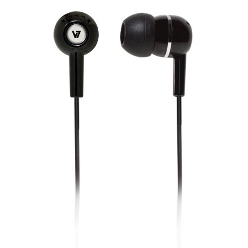 V7 High Definition Noise Isolating 3.5mm Stereo Comfort-Fit Earbuds for music and video audio streaming on smartphones, portable MP3, DVD, Game systems (HA100-2NP) - Black