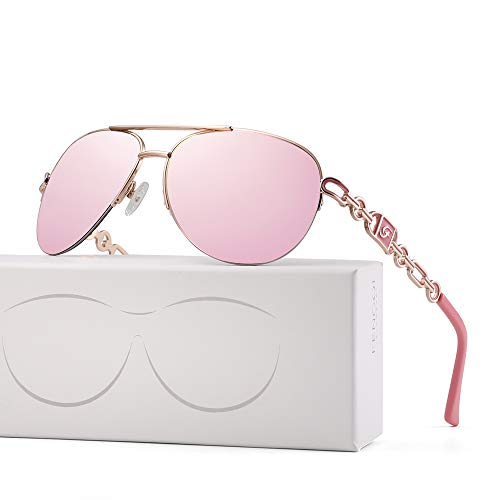FENCHI Classic Aviator Sunglasses For Women Metal Frame With Summer Hinges UV400 0257 (lens:pink revo/frame:rose gold/temple:pink)