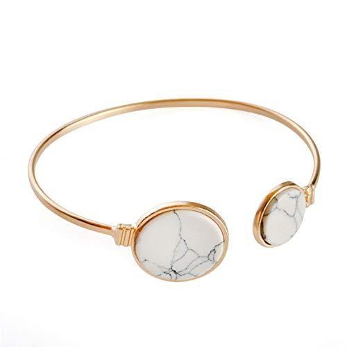 (GAJSDJHN Bracelet White Black Faux Marble Stone Cuff Alloy Opening Bracelet Round Geometric Bangle Gold Circle Cuff Bangle Bracelet)