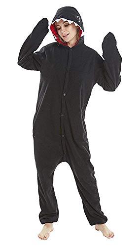 (Women's Sleepwear Unisex Animal Onesie Pajamas Shark Adult Kigurumi Cosplay Halloween Costume (Large,Black)