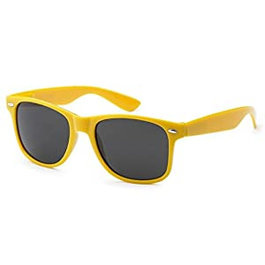 Sunglasses Classic 80's Vintage Style Design (Neon Yellow)