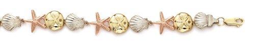 Tricolore 14 carats Coque Sanddollar Bracelet Motif étoile 7,5 cm-JewelryWeb