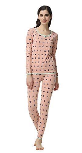 Ropa Ocasional De Hogar El Manga Para Conjunto Elegante Pink Pijamas Estampadas Fashion Mujer Otoño Pijama Largo Batas Pantalones Estilo Redondo Cuello Primavera Especial qZ6fxCPnw