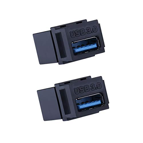 (USB 3.0 Keystone Jack - iGreely 2Pack Female Coupler Insert Snap-in Connector Socket Adapter Port for Wall Plate Outlet Panel - Black)