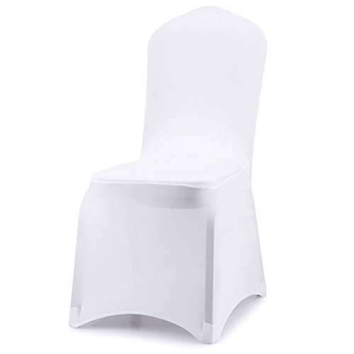 ISWEES Set of 10 PCS White Color Polyester Spandex Chair Covers,Modern Thickening Stretchy Slipcover for Wedding Banquet Anniversary Party Home Decoration - Flat -