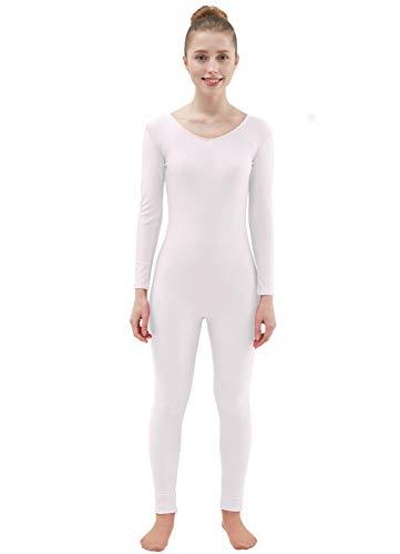 Ensnovo Womens Spandex Bodysuit Long Sleeve Scoop Neckline Footless Unitard White,XXL