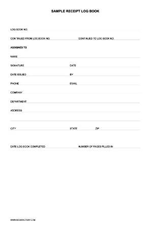 Amazon.com : Bookfactory Sample Receipt Log Book / Sample Log Book