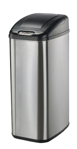 Nine Stars DZT-50-6 Infrared Touchless Stainless Steel Trash Can, 13.2-Gallon (Oval Garbage Can)
