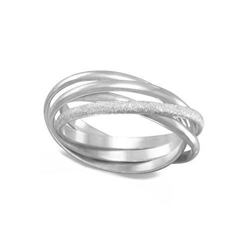 Trinity Three Band Interlocking Ring Polished with One Stardust Sterling ()