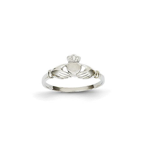 14k White Gold Polished & Satin Claddagh Ring