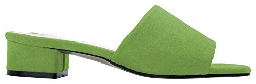 Annakastle Mujeres Colored Mule Slipper Heel Sandal Faux Suede - Lawn Green