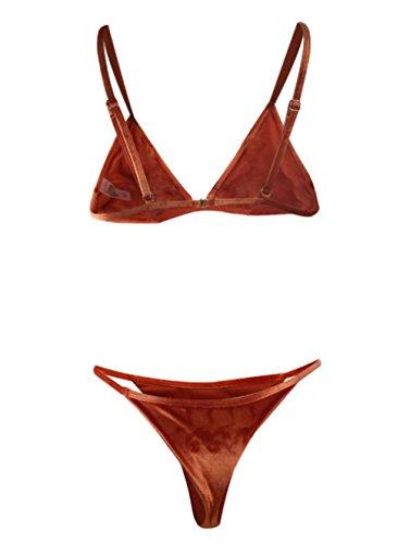 Y&L De Las Mujeres De Dos Piezas Bikins Conjuntos De Doble Cara Reversible Trajes De Baño Triángulo Tanga Brasileña De Trajes De Baño Naranja