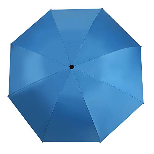 Reverse Automatic Open Close Folding Umbrella,Windproof Golf Car Travel Large Inverted Compact Portable Sun&Rain UV Ultraviolet-proof Umbrella For Men Women,46 Inch (Sky Blue) by YRH (Image #4)