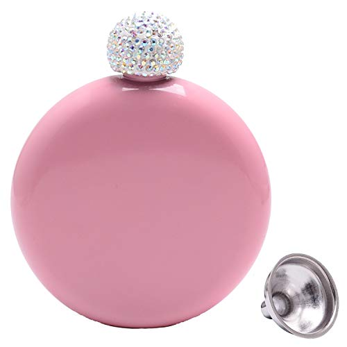 Humphrey Amelia 5 oz Portable Booze Shot Flask Stainless Steel Liquor Wine Flask with Crystal Lid and Funnel Bachelorette Party Bridal Shower Bridesmaid Gift (pink)