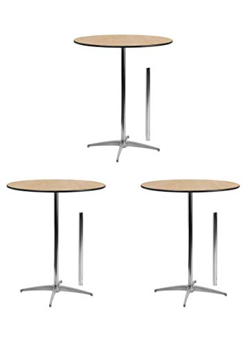 Flash Furniture 36'' Round Wood Cocktail Table with 30'' and 42'' Columns (3 Pack-36-Inch) (Cocktail Table 36)