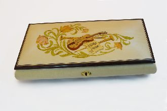 Made In Italy Sorrento White High Gloss Music box with violin inlay - Music Box Dancer (Sankyo 18 Note)