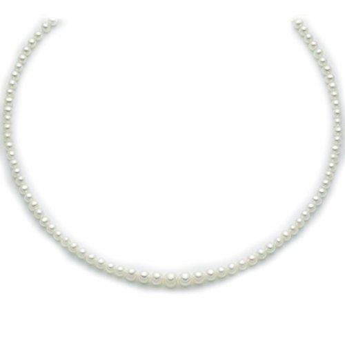 Miluna Collana di perle 7,7,5 chiusura in oro bianco 18 kt carati  Amazon.it Gioielli