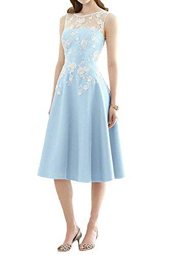 Hellblau Brautjungfernkleid A Kurz Satin Abendkleid Partykleid Festkleid Ballkleider Linie Z6Ag8RgW