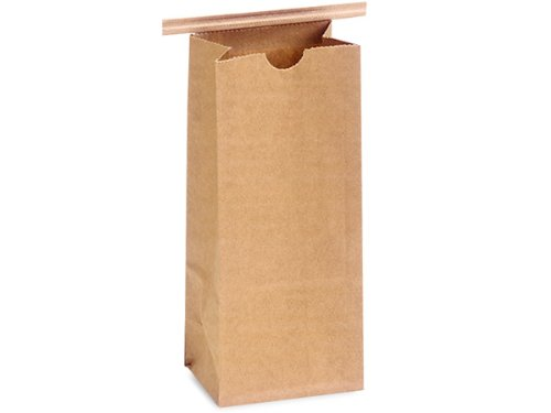 Pack of 1000, 1 lb. PLA Recycled Brown Kraft Tin Tie Coffee Bags 4.25 x 2.5 x 10.5'' Made In USA by Generic