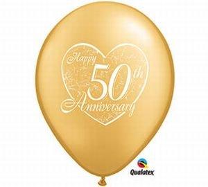(Happy 50th Anniversary Qualatex Latex Balloons, 11-Inch 25 Per)