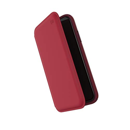 Garnet Red Case - Speck Products Presidio Folio Leather iPhone XR Case, Rouge Red/Garnet Red/Currant Jam Red