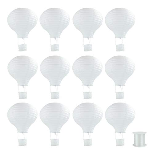 Lee-buty 12pcs White Paper Lanterns Hot Air Balloon Shape DIY Lanterns with 1 Piece of Hanging Line for Party Birthday Wedding Christmas Decoration -