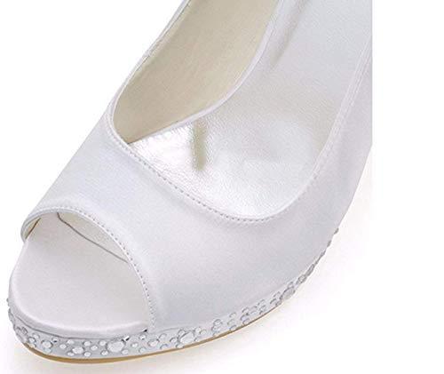 Stiletto coloré Peep Ladies Hhgold Blanc Sandales Satin Toe En Taille De Crystals Mariée IxZwwgc14q