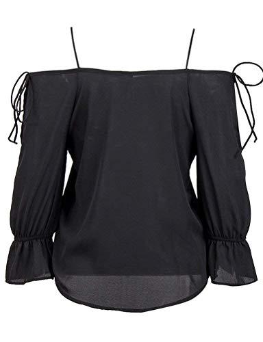 Automne Sling sans Noir Mode Longues Chic Blouse Sangle Loisir Printemps Femme Unie Shirt Elgante Bretelles Mousseline Tops Couleur Haut Large Manches Fashion 1nxvE78xqw