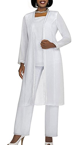 Plus Suits Size Pant Womens (Fitty Lell Women's Chiffon Pant Suits Plus Size 3 Pieces with Long Sleeves Mother of The Bride Dress (US10,White))