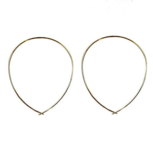 Jules Smith Girls Night Out Earrings - 14k Gold Hoop Earrings for Women - Big Oval Hoop Earrings - Classic Thin Wire Threader Earrings