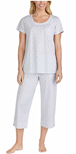 2 Piece Capri Pajama Set - Carole Hochman Ladies' 2-Piece Cotton Capri Pajama Set (Grey, Small)