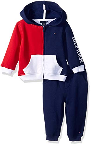 Tommy Hilfiger Baby Boys 2 Pieces Jog Set, red/Navy/White, 12M