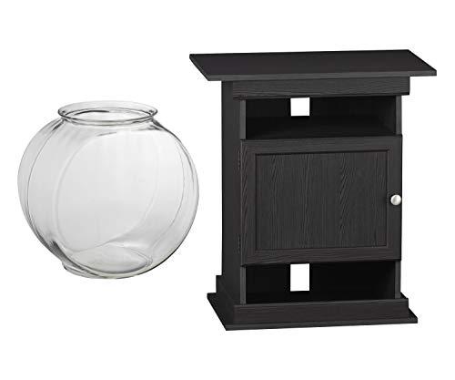 Aqua Culture 2-Gallon Glass Drum Fish Bowl Bundle with Ameriwood Home Flipper 10/20 Gallon Aquarium Stand, Black