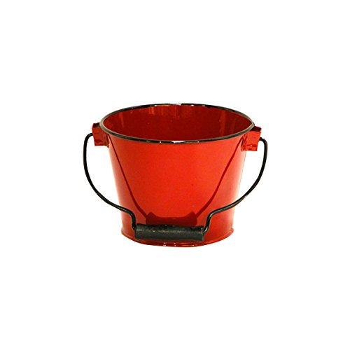 Red Wood Handle Enamel Pail - Set Of 3