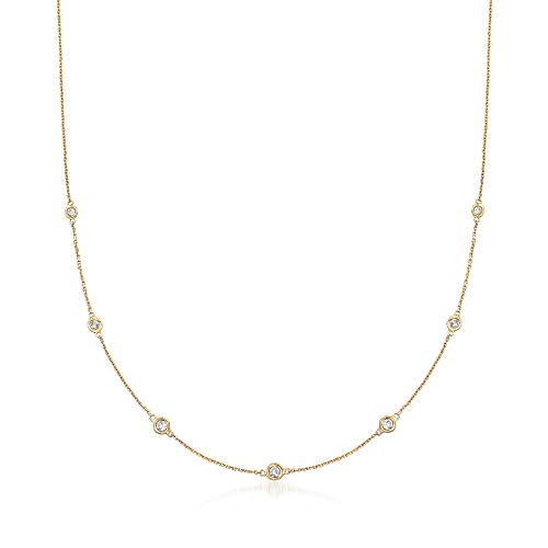 Ross-Simons 0.33 ct. t.w. Graduated Bezel-Set Diamond Station Necklace in 14kt Yellow Gold