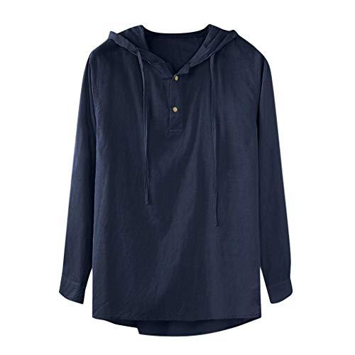 (Men V Neck Blouse Summer Cotton Hemp Long Sleeve Shirt Hippie Beach Blouse Casual Button Down Shirts Yoga Top T Shrits (Blue, M))