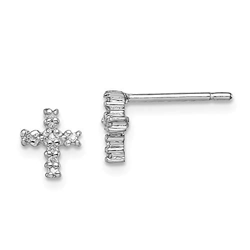 925 Sterling Silver Diamond Cross Religious Post Stud Earrings Fine Jewelry Gifts For Women For Her