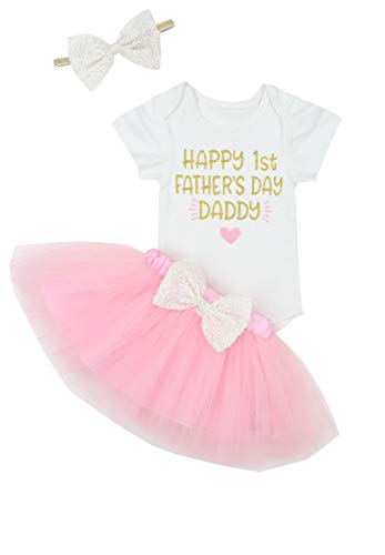 Happy 1st Fathers Day Baby Girl Outfit Letter Print Rompers+Tutu Dresses Shorts+Headband 3PCS Skirt Set 3-6 Months Pink Catch Of The Day Dress