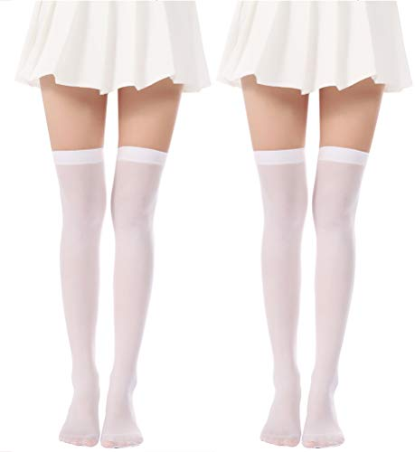 JASMINO Over Knee Long Stockings Solid Thigh High Socks Opaque Costume Stockings Cosplay Knee-High Socks(White Stockings 2 Pairs) -