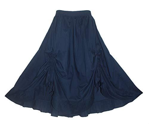 - Beautybatik Navy Blue Cotton Boho Gypsy Long Maxi Victorian Flare Skirt 2X
