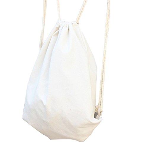 Canvas Drawstring Back Sack (Vivoice Cotton Canvas Drawstring Bags Cinch Pack Backpack Gym Sackpack Ditty Bag with Adjustable Drawstring (white ))