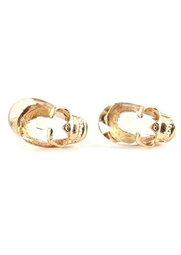 Crystal Skull Stud Earrings Gold Tone Skeleton Posts