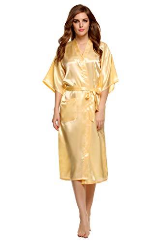 Pintimi Women's Kimono Robe Satin Lounge Bridesmaids Short Style Dark Yellow XL