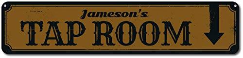 HarrodxBOX Tap Room Sign, Personalized Bar Name Sign, Directional Arrow Sign, Custom Home Bar Sign, Metal Beer Decor Metal Tin Door Sign for Boys Girls Quality Aluminum Sign