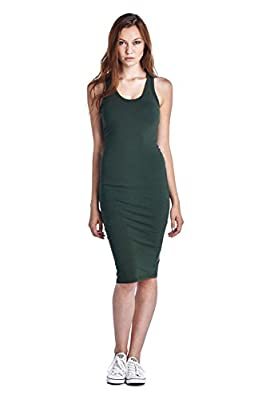 LaClef Women's Sleeveless Basic Racer Back Tank Midi Cotton Casual Dress