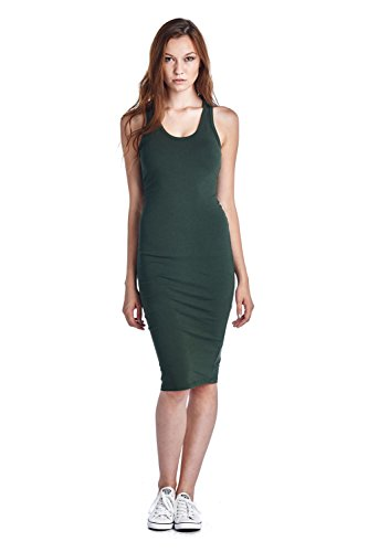 LaClef Women#039s Sleeveless Basic Racer Back Tank Midi Cotton Casual Dress
